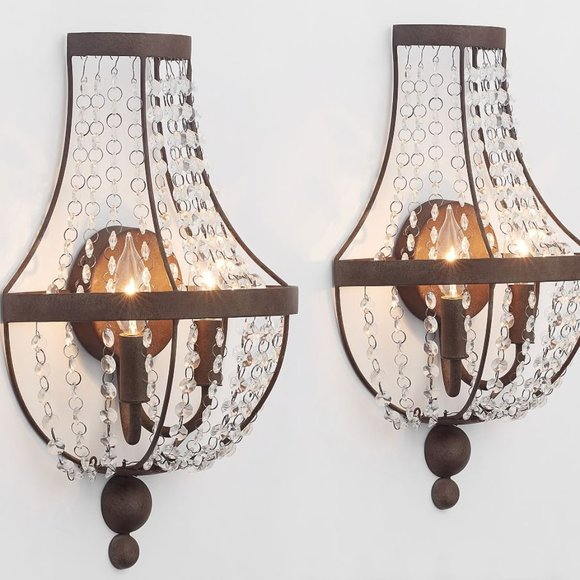 SOLD-Pottery Barn Quinn Sconces - Set of 2